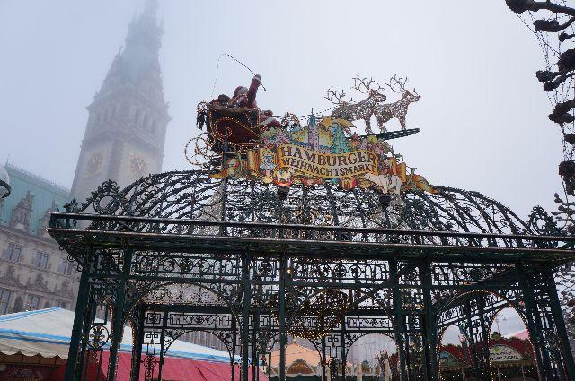 Santa Claus Flying in Hamburg